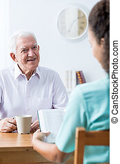 Old man having professional care - Image of happy old man...