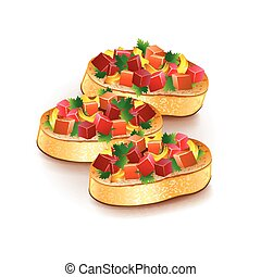 Bruschetta isolated on white vector - Bruschetta isolated on...