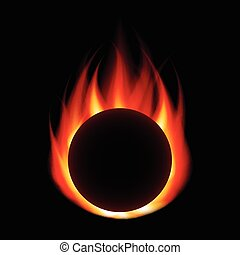 Fire ball isolated on black vector - Fire ball isolated on...
