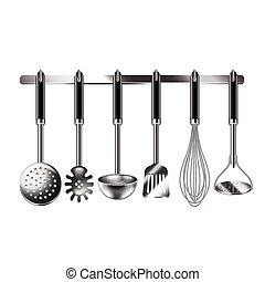 Kitchen utensils isolated on white vector - Kitchen utensils...