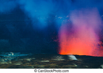 Erupting volcano - Closeup shot of volcanic eruption at...