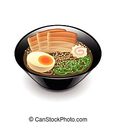 Ramen soup isolated on white vector - Ramen soup isolated on...