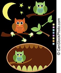 Cute Owl vector background