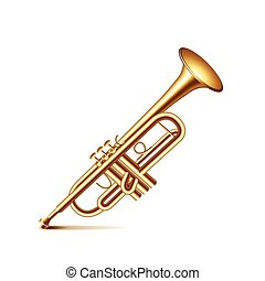 Trumpet isolated on white vector - Trumpet isolated on white...
