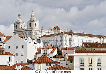 Overview of the Alfama district, in Lisbon Portugal - View...