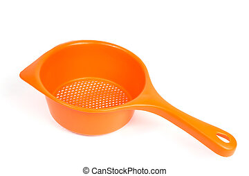 Colander - Orange colander on a white background