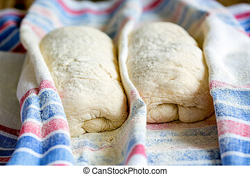 Dough for Italian ciabatta bread.