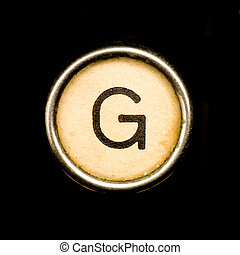 Typewriter letter G - The G button on a complete alphabet of...