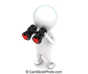 3d man looking for love through binocular concept in white...