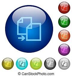 Color copy glass buttons - Set of color copy glass web...