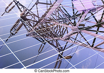 transmission tower reflected in solar panel - transmission...