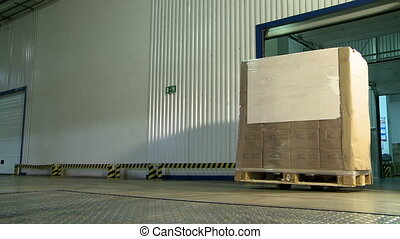 Storehouse. Worker carries pallet with boxes - Storehouse....