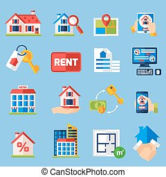 Rent and tenancy icons set - House rent and and property...