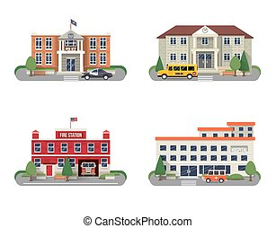 Municipal buildings set - Municipal buildings icons set with...