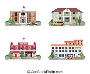 Municipal buildings set - Municipal buildings icons set with...