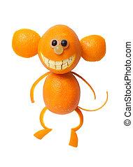 Monkey made of orange rind on isolated background
