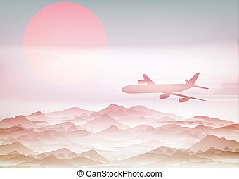 Passenger Plane Above Mountains