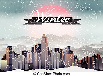 Retro City during Winter Background