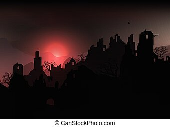 Horror Halloween Background Landscape with Ruins of a Castle...