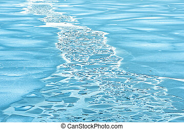 Ice channel during the cold winter months in blue color....