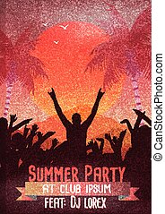 Retro Summer Beach Party Flyer - Vector Illustration