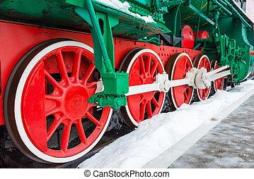 viejo, vapor, locomotora, ruedas,