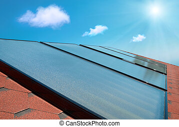 Solar panels on the roof - Solar water heating cells on the...