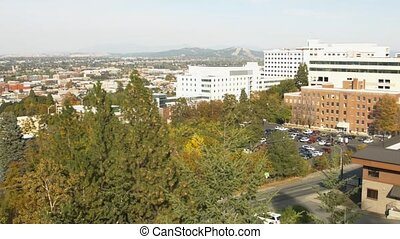 Downtown Spokane Pan R - Daytime shot of downtown Spokane,...