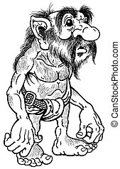 troll black and white - primitive old caveman or troll black...