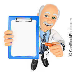 3D Doctor with blank clipboard and a pen