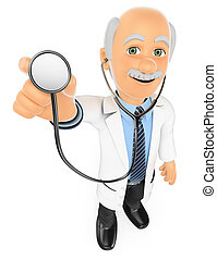 3D Doctor listening with a stethoscope