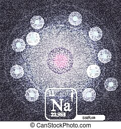 Sodium Atom with Electron Orbits and Properties - Vector...