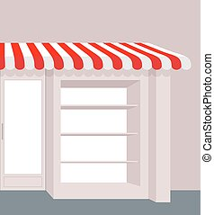 Storefront with striped roof Red and white stripes of canopy...