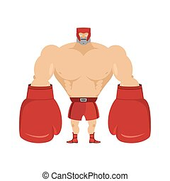Boxer Athlete in protective helmet Strong man in big boxing...