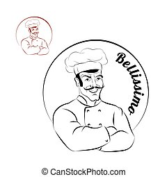Italian chef. logo for restaurant. Bellissimo. Sign for a bakery or Cafe. Chef with crossed hands. Professional Cooking meal.