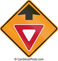 Temporary road control version - Give way ahead