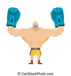 Boxer winner. Athlete in blue gloves. Bodybuilder with boxing gloves. Athlete fighter raised his hands up.