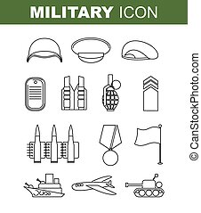 Military line icon. Set army symbol. Soldiers helmet. Green...