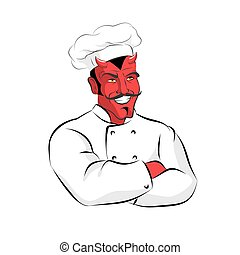 Hell of  Cook. Devils kitchen. Satan in chef Cook. Chef demon with horns. Red Beelzebub cooking in  restaurant. Scary Professional kitchen worker. Cook sinners