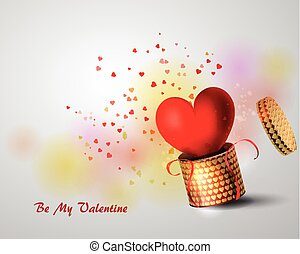 Box With Heart on white Background, Vector Illustration