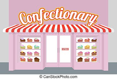 Confectionary. Storefront with cakes. Pieces of cake on a plate. Sweet dessert sold in store window. Pretty pink building shop of sweets.