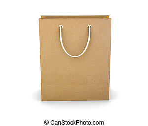 yellow shopping paper bag isolated