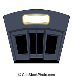 Shop in evening. Night storefront. Black Windows and doors. Building with signboard. Glowing sign above door in shop. Place for your text.
