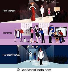 Fashion model catwalk banner set - Fashion model horizontal...