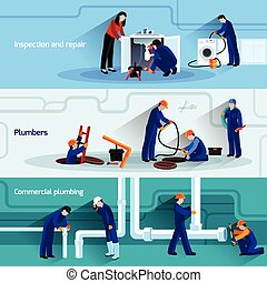 Plumber banner set - Plumber horizontal banner set with...