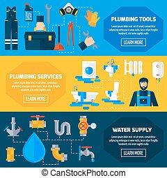 Plumber Service Flat Banners Set - Plumbing sanitary repair...