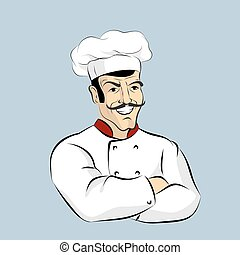 Italian chef Cook with  mustache. Professional Cooking. Kitchen worker in a white dress. Character for restaurant or Cafe. Man in pot Cap crossed hands