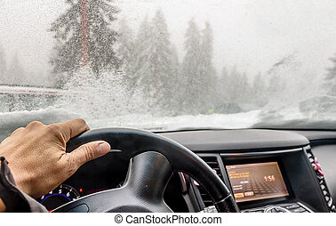 View through the cars windshield in the winter snowy day on...