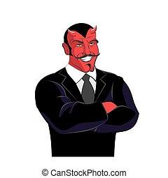 Devil in black business suit. Satan businessman. Red lucifer...