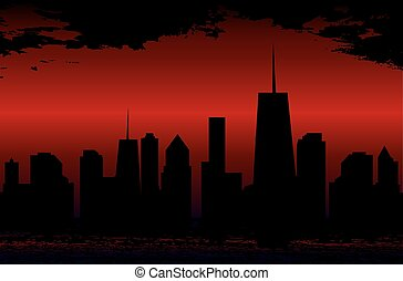 Sunset over the Cities Silhouette. Vector Illustration.